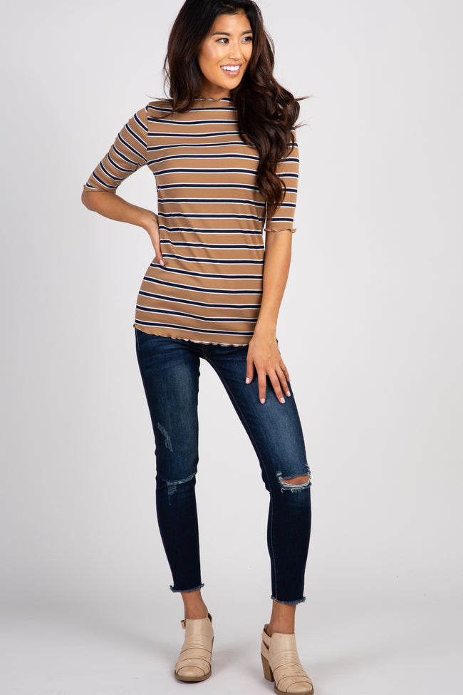 Taupe Striped Lettuce Hem Maternity Top
