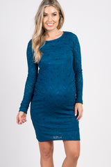 PinkBlush Teal Lace Fitted Long Sleeve Maternity Dress