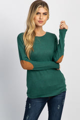 Green Suede Elbow Patch Button Accent Maternity Top