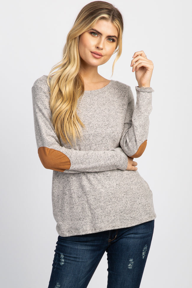 Taupe Suede Elbow Patch Button Accent Maternity Top