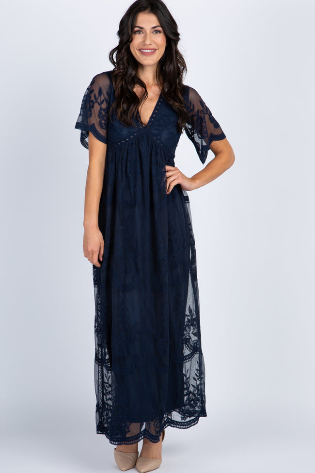 PinkBlush Navy Blue Lace Mesh Overlay Maternity Maxi Dress