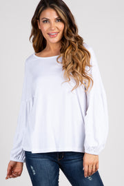 White Long Puff Sleeve Top
