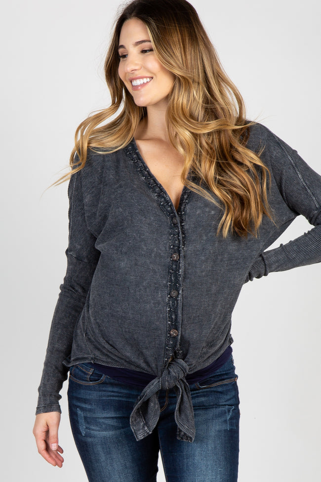 Charcoal Faded Waffle Knit Crochet Trim Front Knot Maternity Top