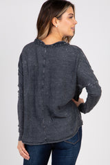 Charcoal Faded Waffle Knit Crochet Trim Front Knot Top
