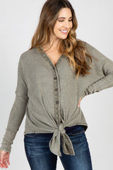 Light Olive Faded Waffle Knit Crochet Trim Front Knot Maternity Top