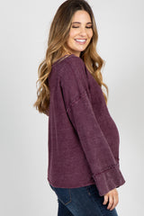 Plum Mineral Washed Maternity Top