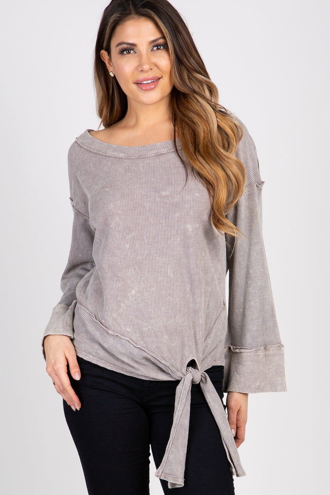 Taupe Mineral Washed Maternity Top