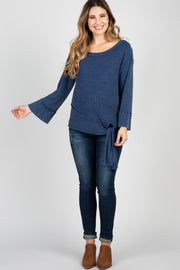 Navy Blue Mineral Washed Maternity Top