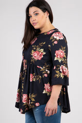 Black Floral Ruffle Sleeve Peplum Plus Top