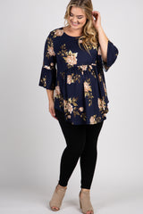 Navy Blue Floral Ruffle Sleeve Peplum Maternity Plus Top