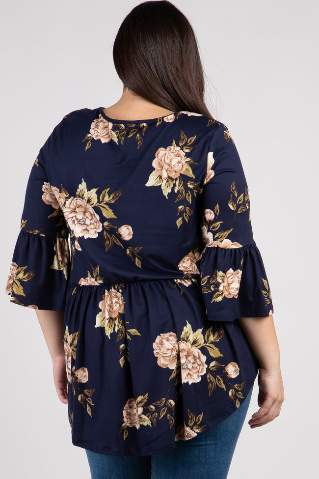 Navy Blue Floral Ruffle Sleeve Peplum Plus Top