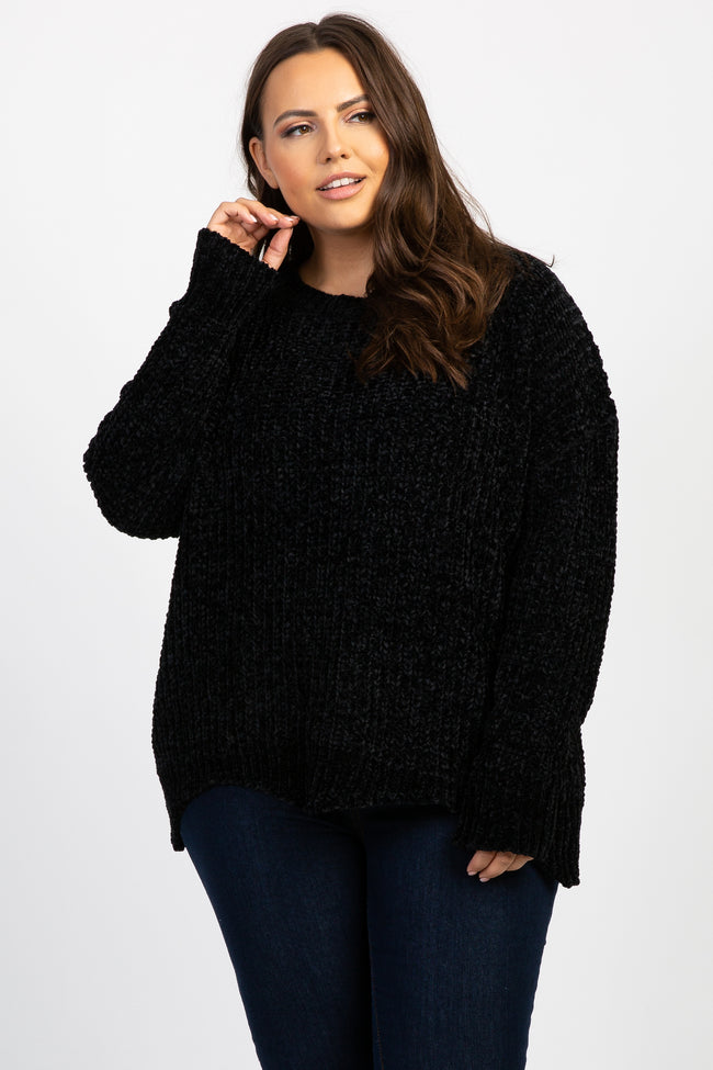 Black Chenille Scalloped Hem Maternity Plus Sweater