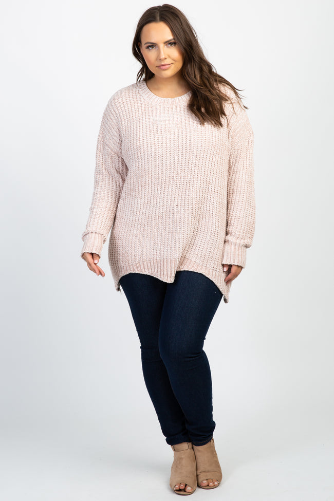 Light Pink Chenille Scalloped Hem Plus Sweater