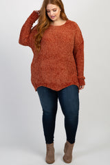 Rust Chenille Scalloped Hem Sweater
