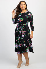 Black Floral Front Tie Plus Dress
