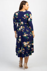 Navy Blue Floral Front Tie Plus Midi Dress