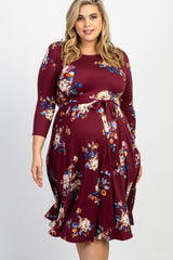 Burgundy Floral Front Tie Maternity Plus Midi Dress
