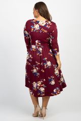 Burgundy Floral Front Tie Plus Dress