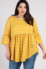 Yellow Striped Ruffle Sleeve Peplum Maternity Plus Top