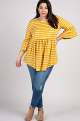 Yellow Striped Ruffle Sleeve Peplum Plus Top