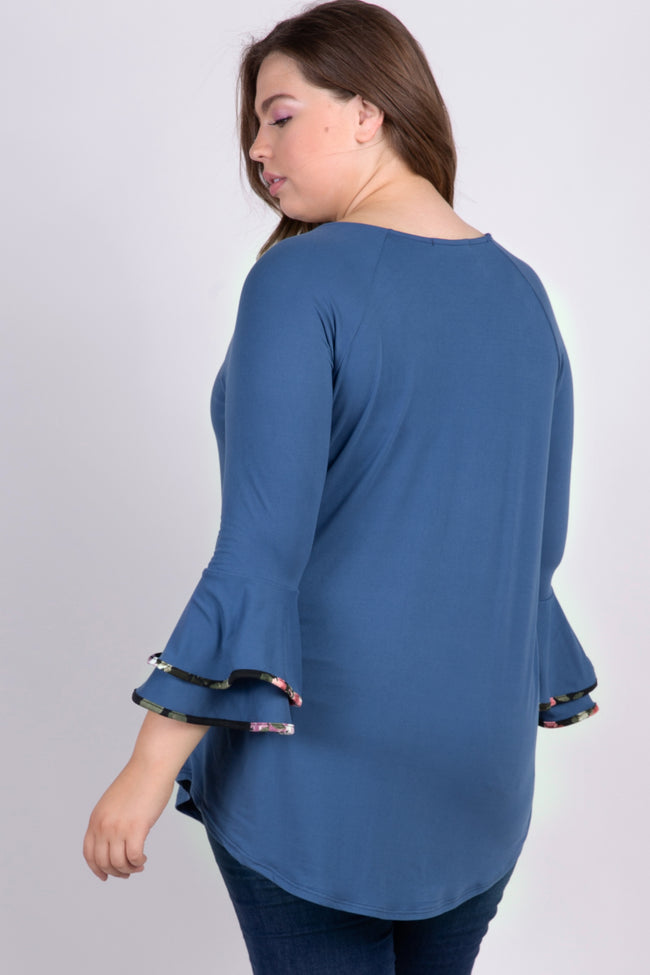 Blue Ruffle Sleeve Floral Trim Plus Maternity Top