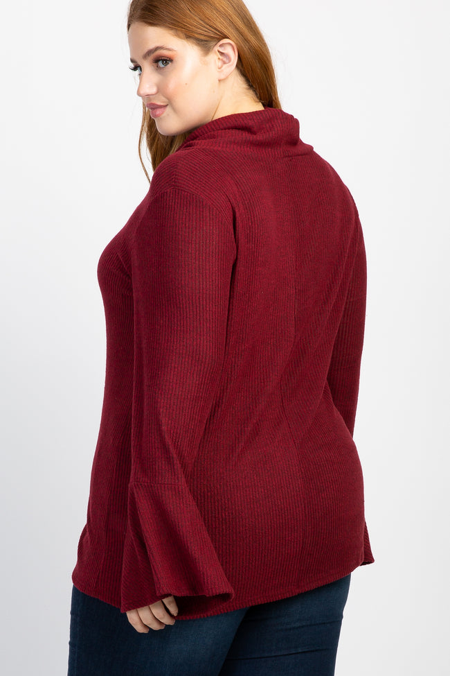 Burgundy Solid Ribbed Bell Sleeve Plus Top