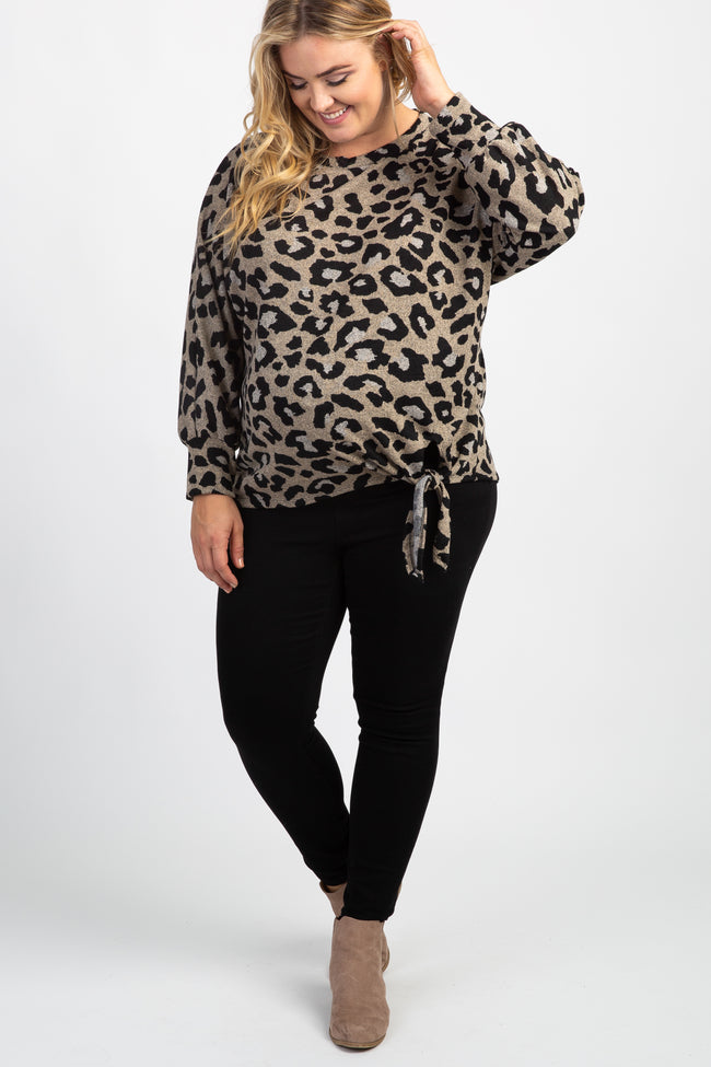 Taupe Leopard Tie Front Long Sleeve Plus Maternity Top