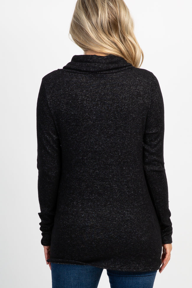 Black Soft Knit Cowl Neck Maternity Top