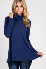 Navy Blue Cowl Neck Knit Top
