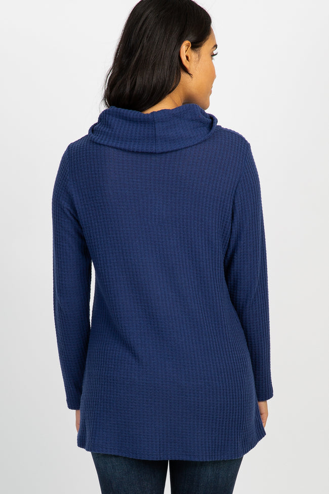 Navy Blue Cowl Neck Knit Maternity Top