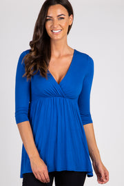 Royal Blue Draped Front 3/4 Sleeve Top