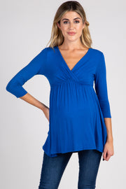 Royal Blue Draped Front 3/4 Sleeve Maternity/Nursing Top