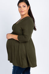 Olive Green Draped Front 3/4 Sleeve Maternity/Nursing Plus Top