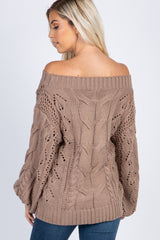 Mocha Cable Knit Off The Shoulder Sweater