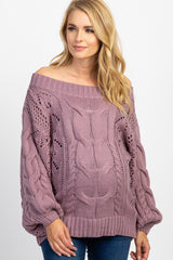 Purple Cable Knit Off The Shoulder Maternity Sweater