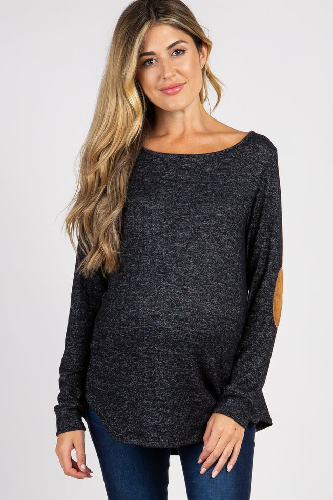Black Heathered Suede Elbow Back Button Maternity Top