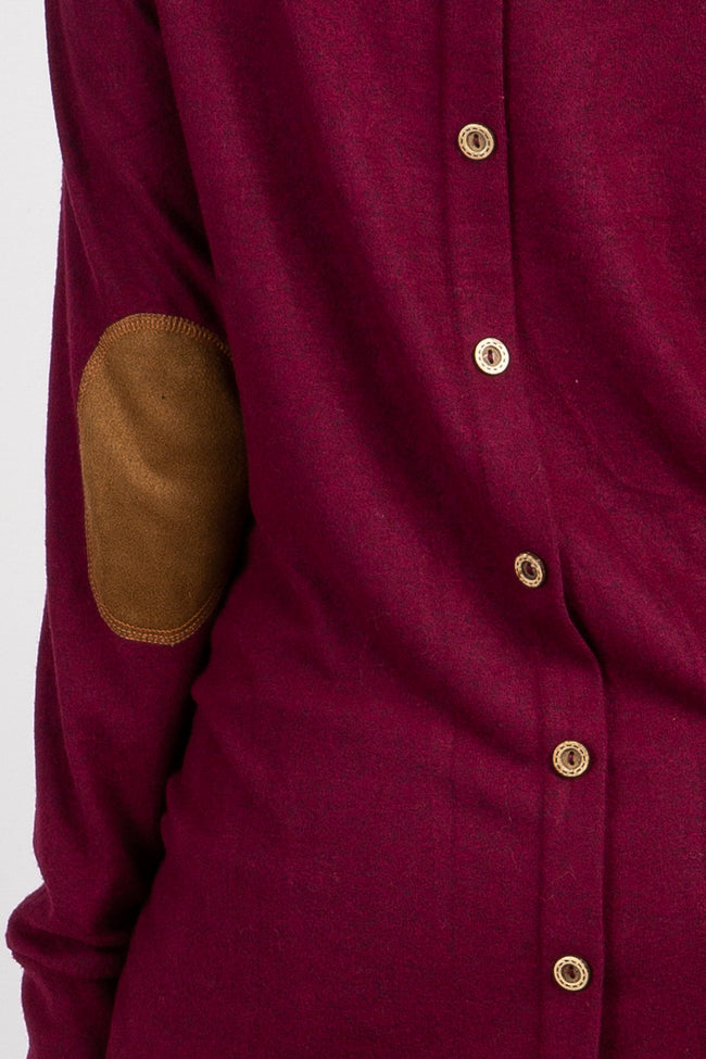 Burgundy Suede Elbow Back Button Top