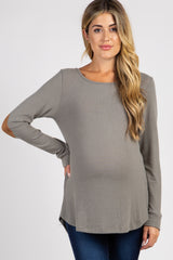 Light Olive Suede Elbow Back Button Maternity Top
