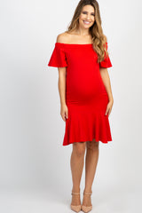 Red Off Shoulder Mermaid Maternity Dress