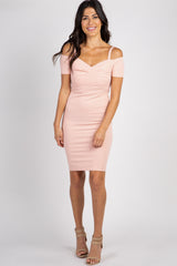 Peach Solid Cold Shoulder Maternity Fitted Dress