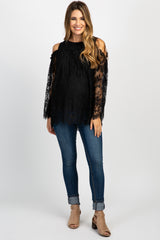 Black Cold Shoulder Lace Maternity Top