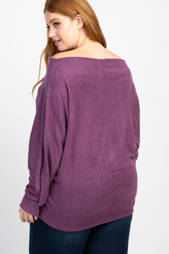Purple Off Shoulder Dolman Sleeve Plus Top