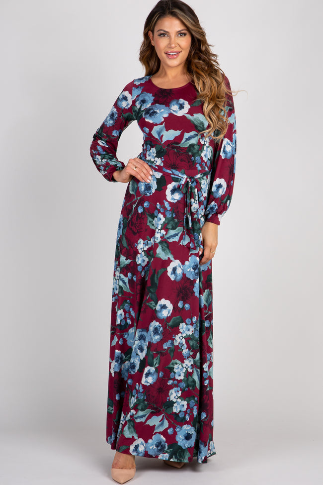 Burgundy Floral Tie Front Maternity Maxi Dress