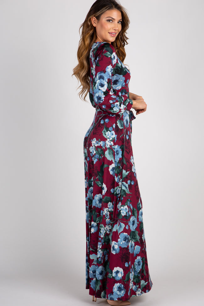 Burgundy Floral Tie Front Maxi Dress