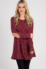 Burgundy Polka Dot Suede Elbow Knit Top