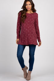 Burgundy Polka Dot Suede Elbow Knit Maternity Top
