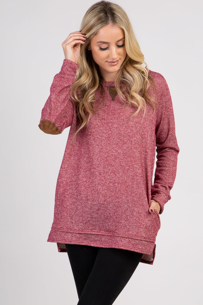 Burgundy Suede Elbow Accent Maternity Sweater
