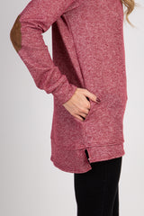 Burgundy Suede Elbow Accent Sweater