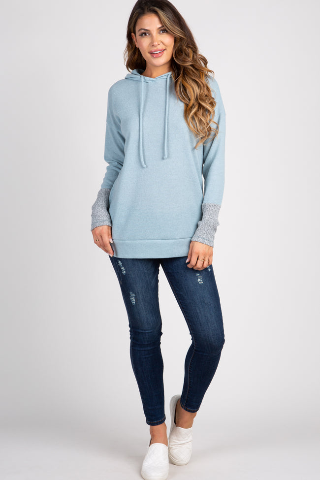 Light Blue Colorblock Sleeve Knit Hoodie