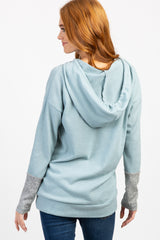 Light Blue Colorblock Sleeve Maternity Knit Hoodie